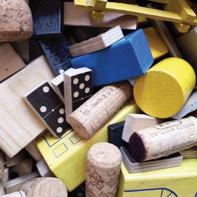 materialen voor een geel-blauw droomhuis